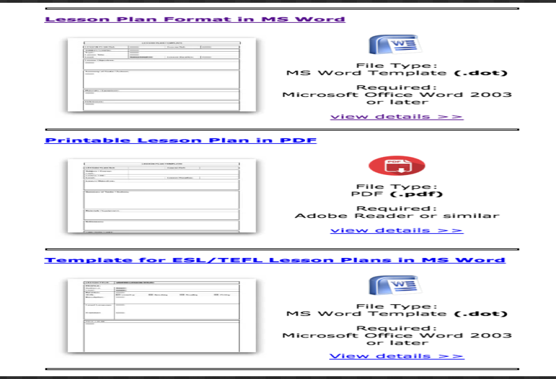 lesson plan templates word