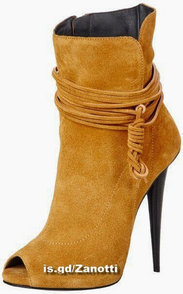 Giuseppe Zanotti Mustard Women's Peep-Toe Ankle Boots