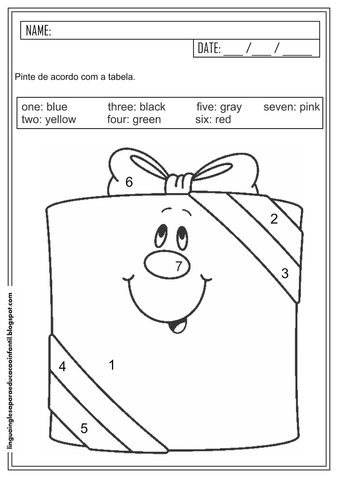Atividade com números e cores em inglês para educação infantil