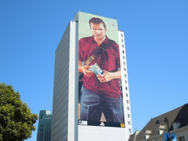 Giant Grand Theft Auto V Michael game billboard