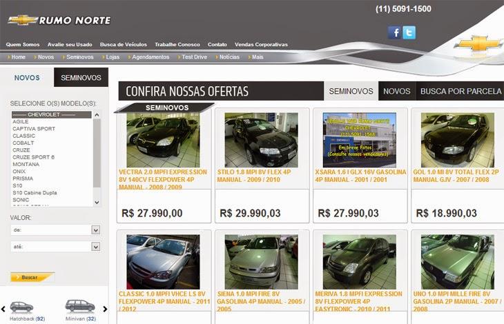 Sistema de Busca de Veiculos Novos da RumoNorte.