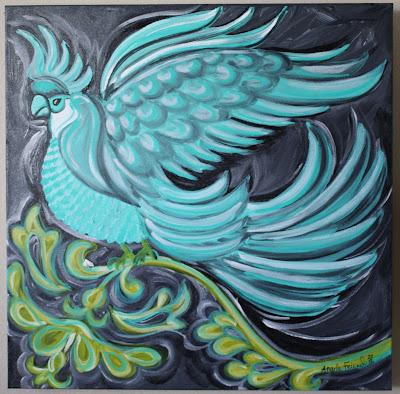 turquoise bird art