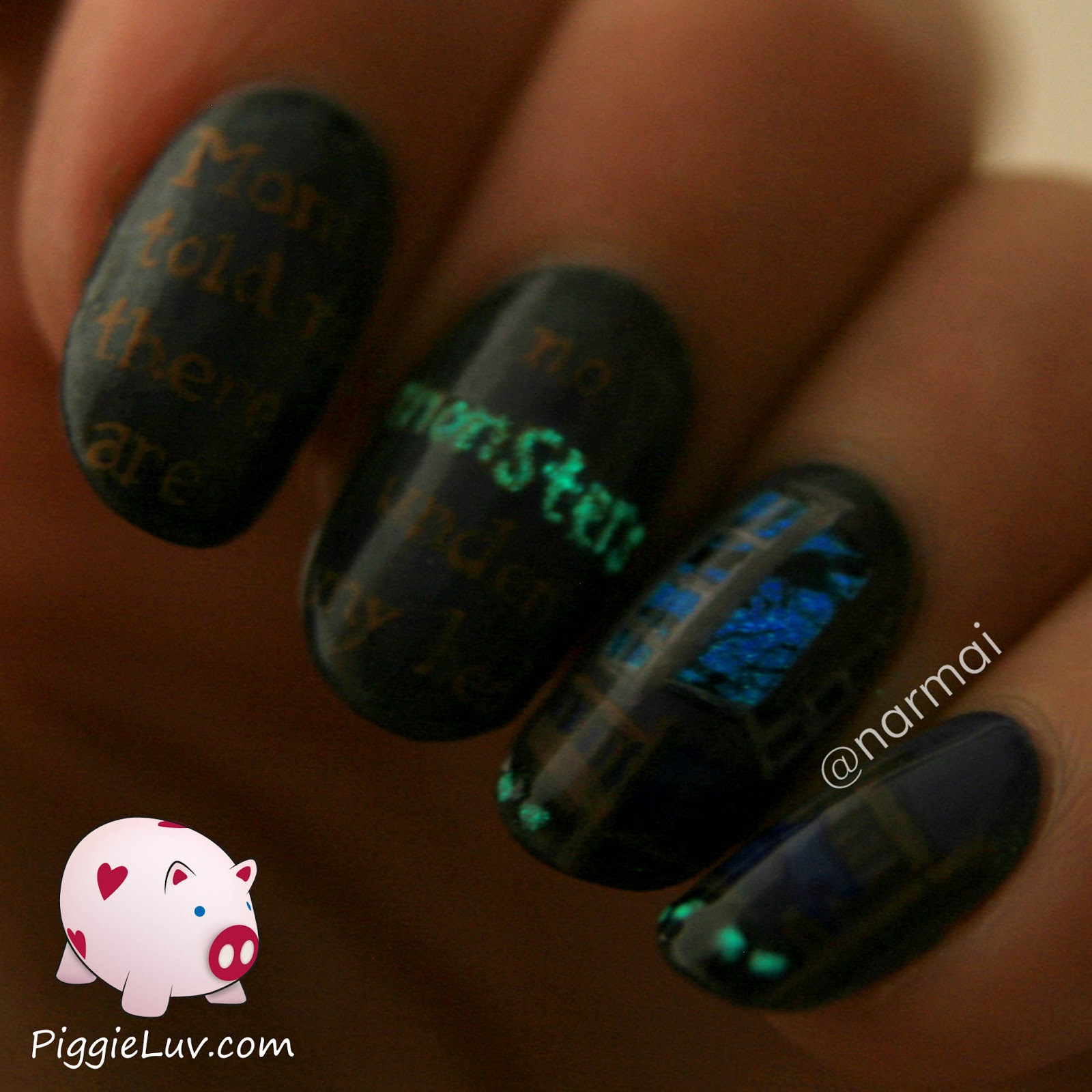 Piggieluv Monsters Under The Bed Glow In The Dark Nail Art