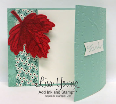 Stampin' Up! Vintage Leaves and Woodland embossing folder. Latch card. Handmade thank you card by Lisa Young, Add Ink and Stamp