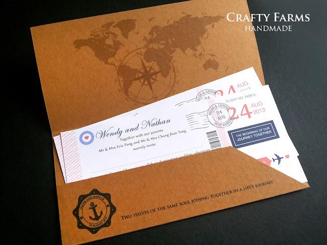 Handmade vintage kraft airmail boarding pass card for destination wedding