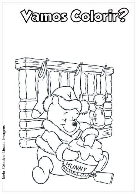 Ursinho Pooh desenho de Natal para colorir