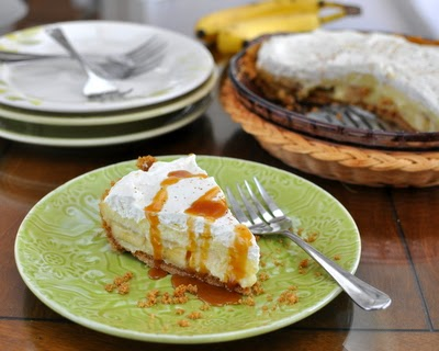 Banana Cream Pie, drizzled with caramel sauce. One pudding recipe for pie, parfaits, pavlova and even (yummm) just plain with chopped banana.