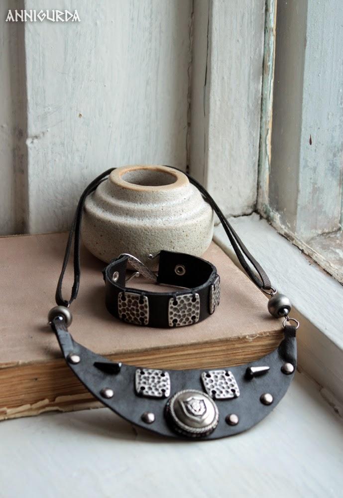 комплект украшений, кожаные украшения, кожа, металл, черный, рок, байкер, неформальный стиль