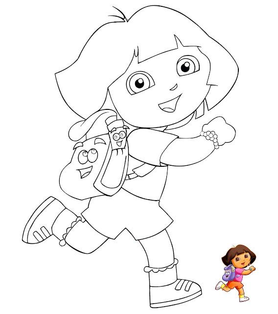 Mewarnai Gambar Tokoh Kartun Dora The Explorer