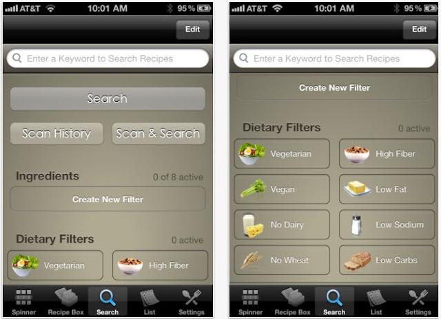 Allrecipes.com Dinner Spinner Pro app screenshot
