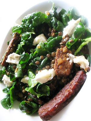 Lentil Salad with Tempeh, Dried Cherries, Spinach and Gorgonzola