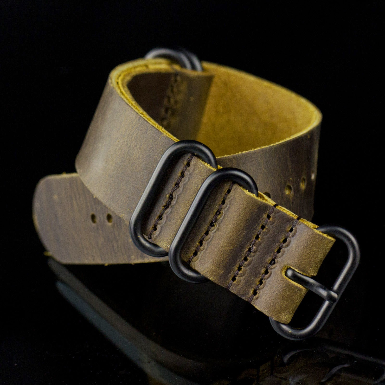 20/22/24mm Band Width Distressed Genuine Leather PVD Army Wrist Watch Strap New