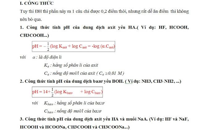 công thức tính nhanh pH và pOH - gia sư tại nhà