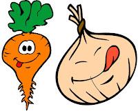 cenoura, cebola