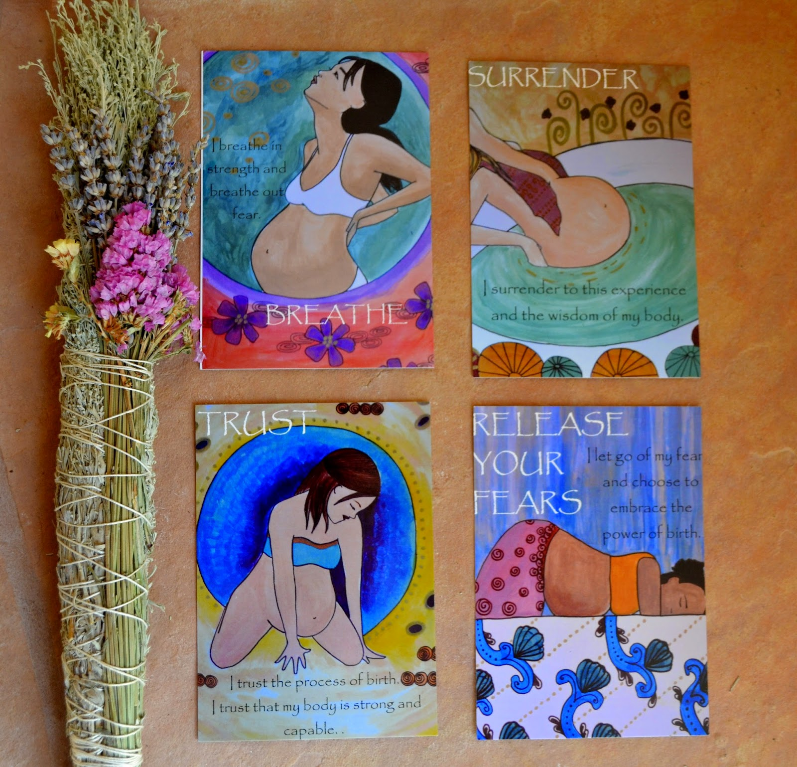 birth affirmation cards birth art