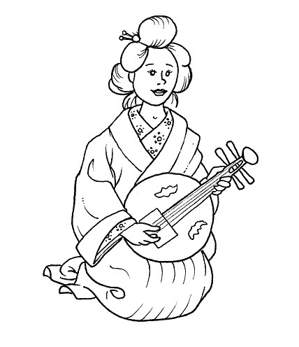 Dibujo de Geisha para colorear