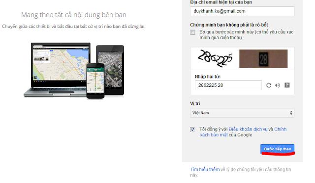 đăng ký tài khoản Gmail 2014