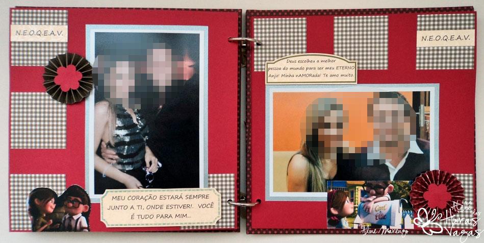 mini álbum scrapbook love namorados vermelho marrom apaixonados