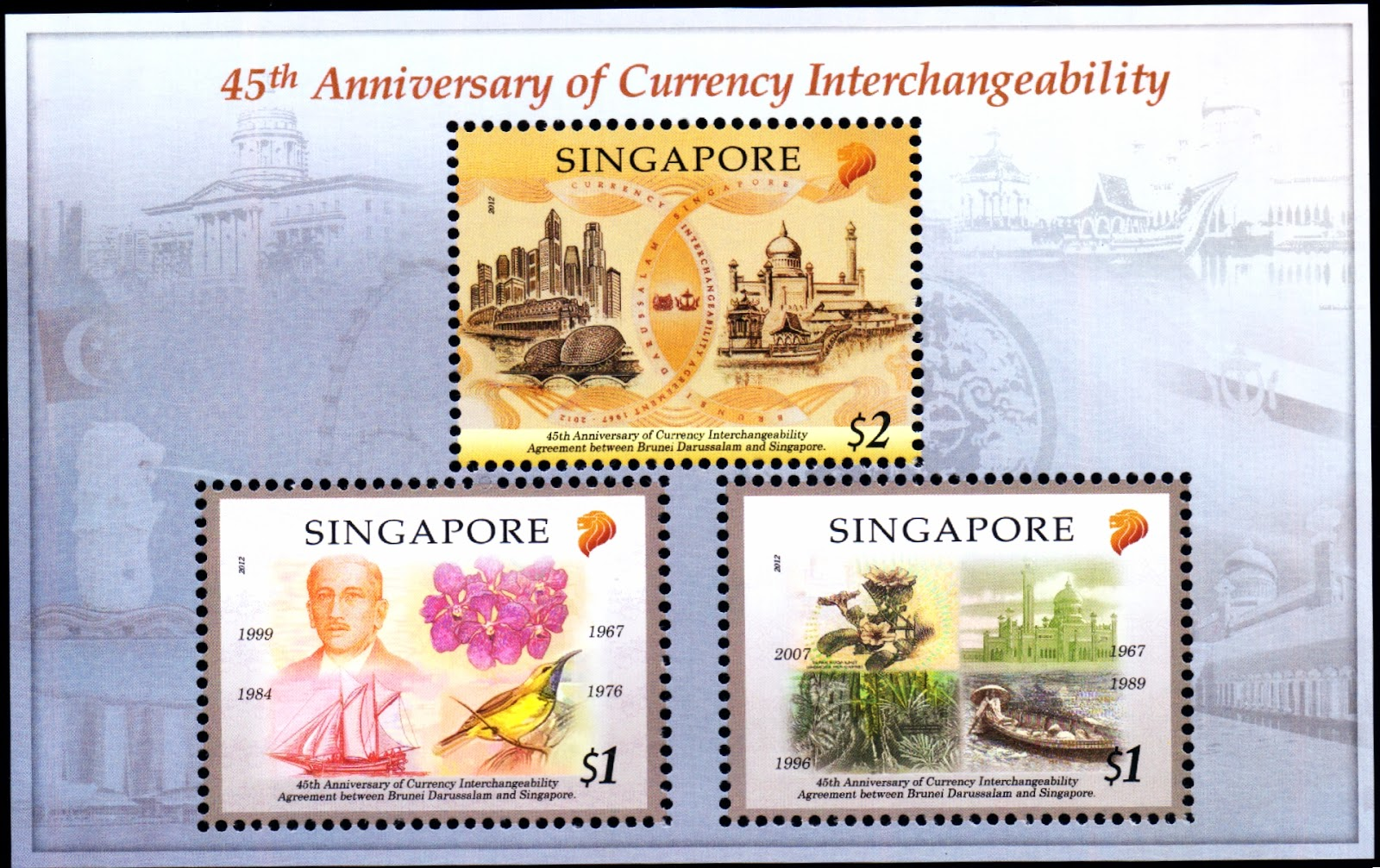 Singapore-Brunei Joint Issue - Miniature Sheet<br>Miniature Sheet comprising the complete set of stamps (S$4.25)