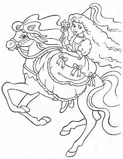 Princesa en su caballo para colorear