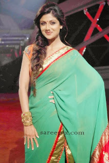 Shilpa shetty in transparent green saree