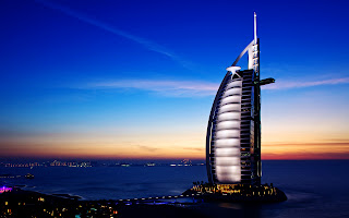 Burj Al Arab Hotel Sunset Night View HD Wallpaper
