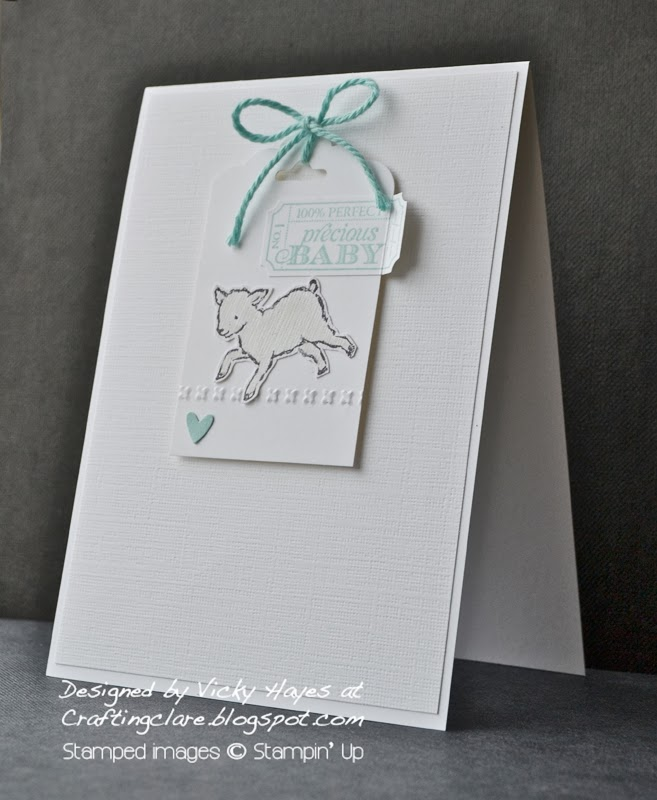 Crafting clare makes a baby card using the new scalloped Tag Topper from Stampin Up