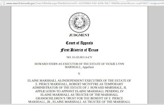 Judgment - HOWARD STERN AS EXECUTOR OF THE ESTATE OF VICKIE LYNN MARSHALL, V. ELAINE MARSHALL AS INDEPENDENT EXECUTRIX OF THE ESTATE OF E. PIERCE MARSHALL, NO. 01-02-00114-CV (Tex.App. - Houston [1st Dist.] July 14, 2015, no pet h.)