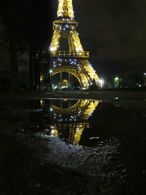 Eiffel tower paris night reflection