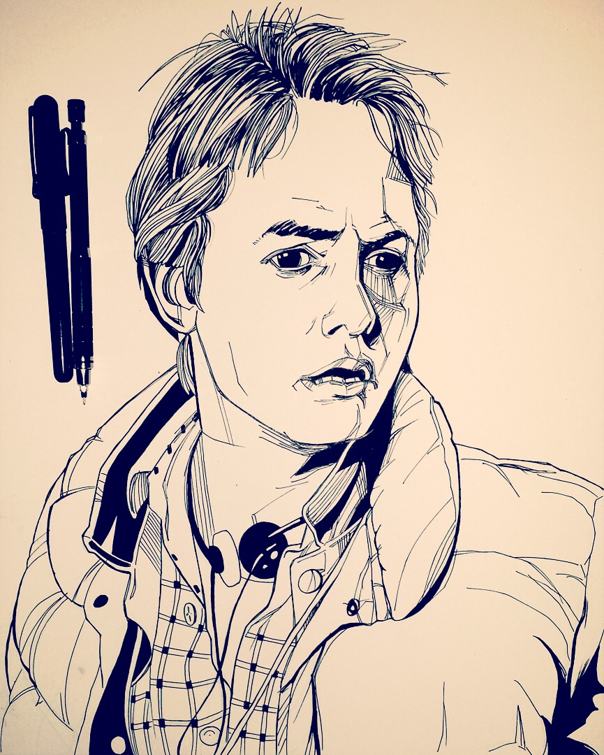 Michael J Fox as Marty McFly drawing