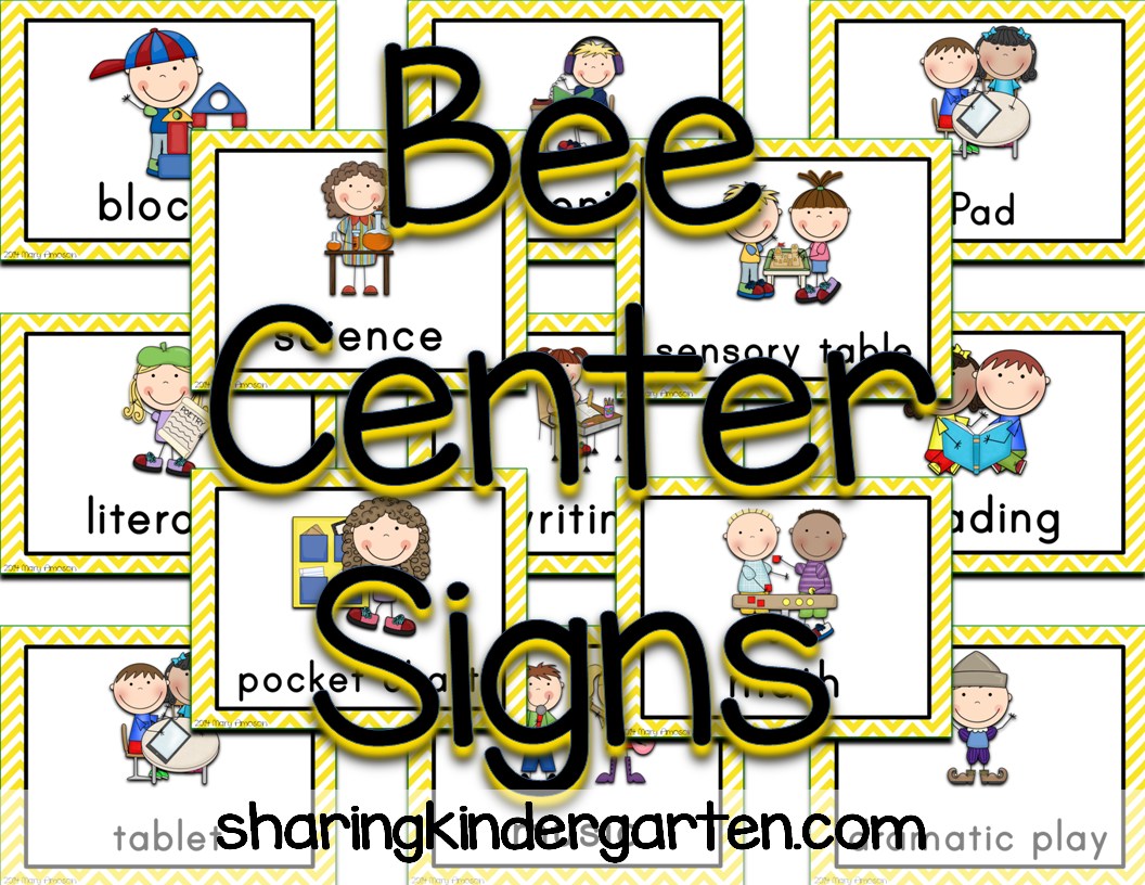 http://www.teacherspayteachers.com/Product/Bee-Center-Signs-1342119