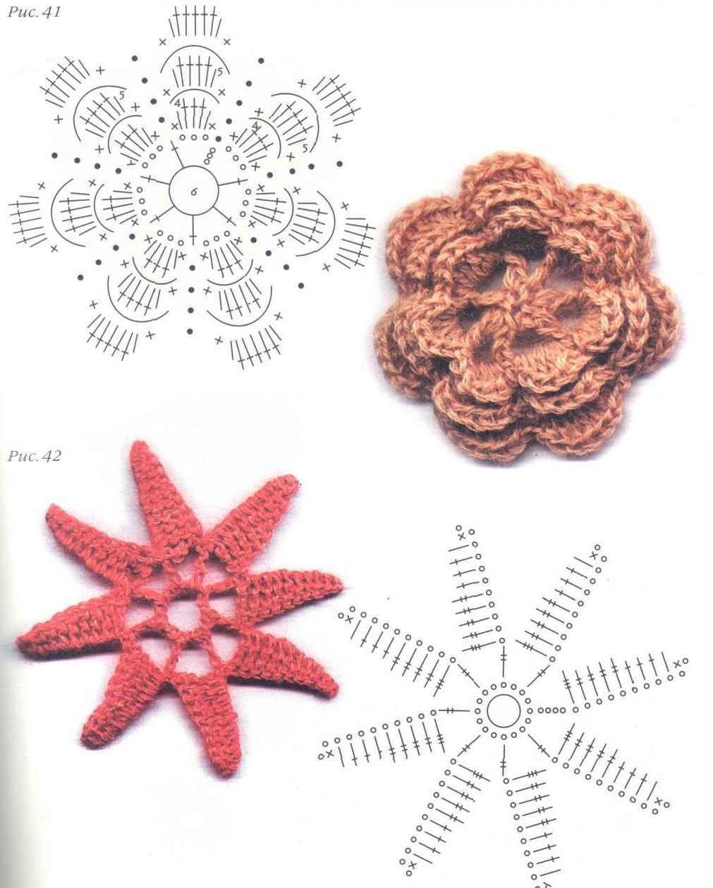 Как связать цветок крючком, подробные схемы и описание для 86