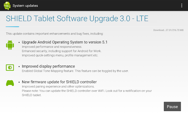 NVIDIA Shield Tablet LTE - Update 3.0 with Android 5.1 Lollipop