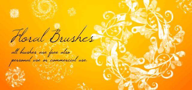 花や草がモチーフのフリーブラシ素材。オシャレできれいなデザイン色々。商用利用もOK。