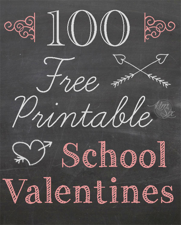 One Hundred Free Printable School Valentines, Easy ideas to print off and give to classmates.