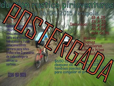 Postergan Duatlón rústico Piriaventuras de Piriápolis previsto para el 26/abr/2015