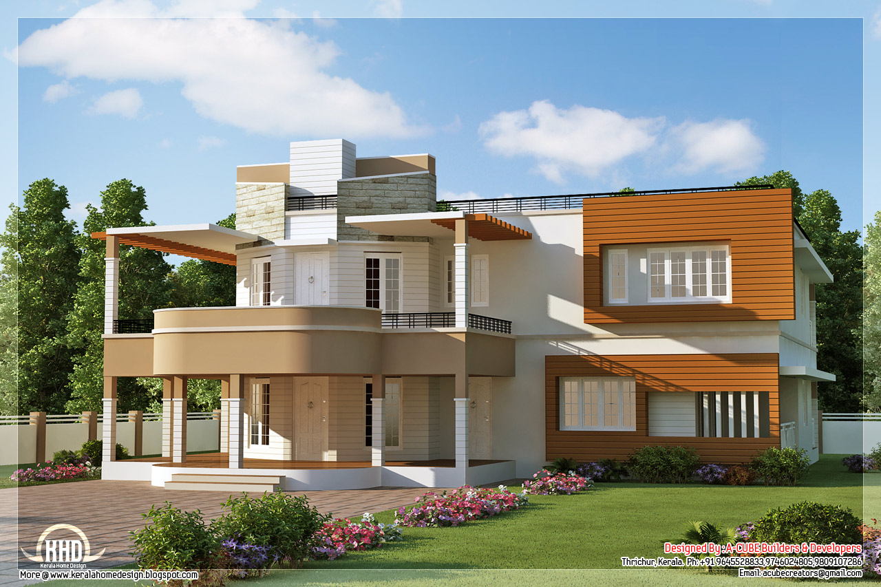 Floor plan and elevation of unique trendy house kerala for Villa plans and designs