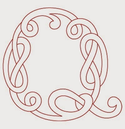 Q Celtic calligraphy monogram tattoo stencil