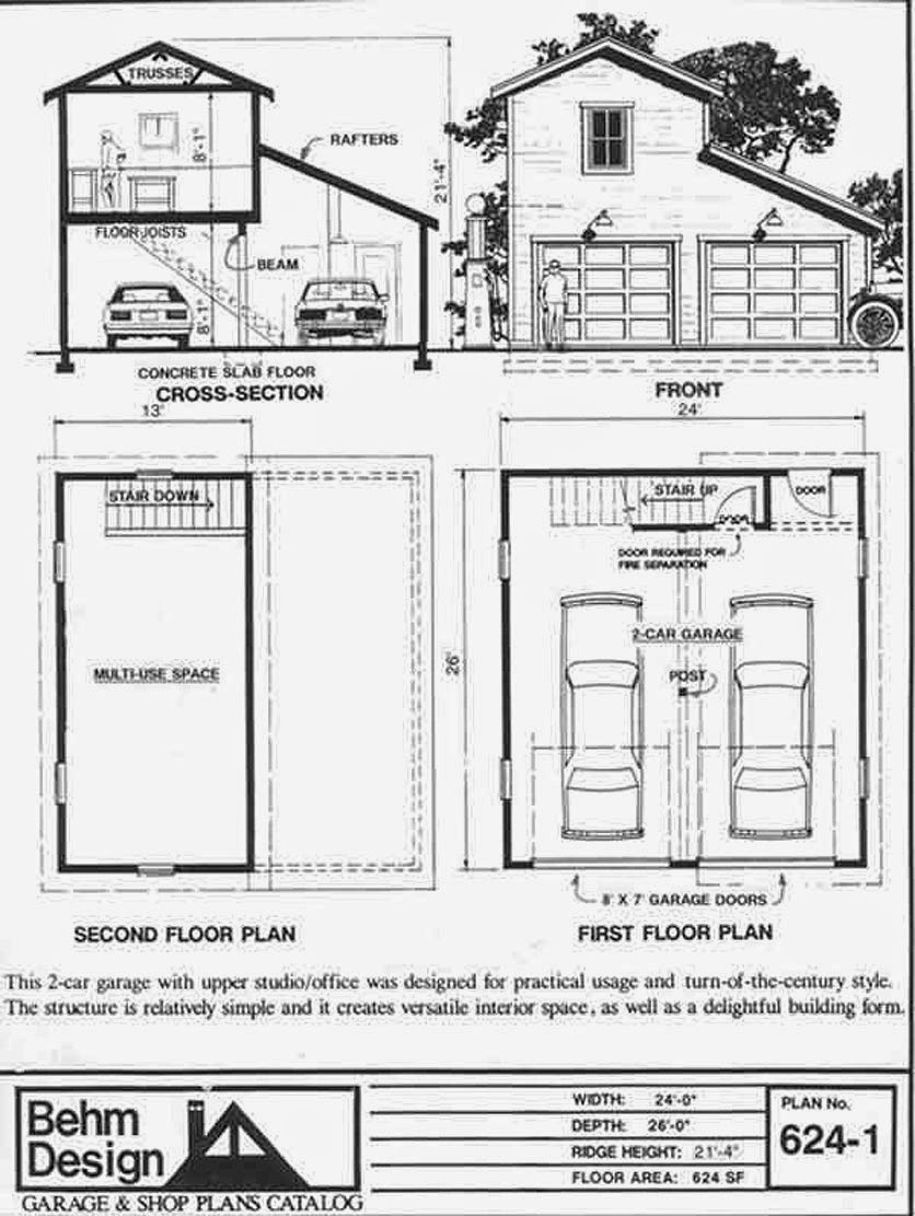 2 car garage plans with loft - 2 Car Garage Plans With Loft Floor Plan Of A Mansion 624 1 2 Car Garage