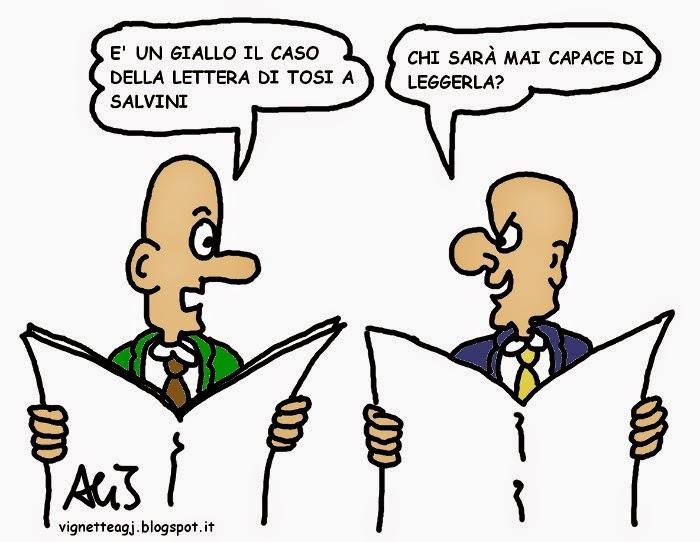 Lega, Tosi, Salvini, satira , vignetta