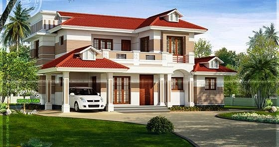 Nice red roof house exterior kerala home design and for Nice home designs kerala
