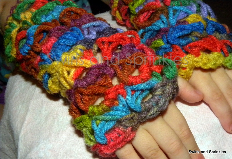 Swirls And Sprinkles Broomstick Lace Fingerless Gloves