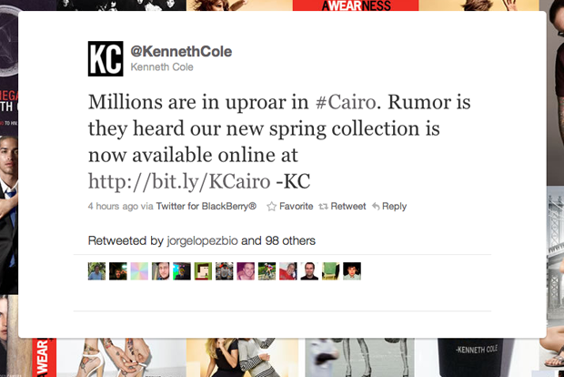 Kenneth Cole, Twitter