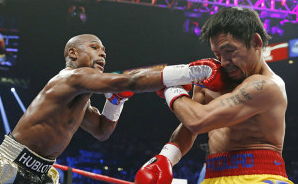 Mayweather and Manny Pacquiao in the ring