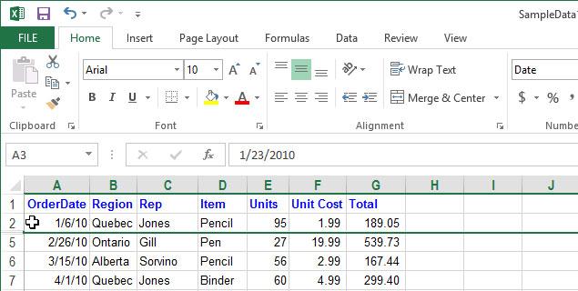Cách tạm thời ẩn hàng, cột trong Excel 2013 4