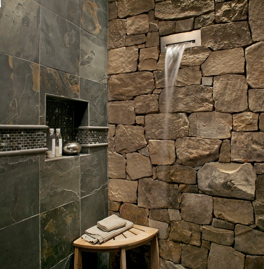 20 rustic bathroom designs the grey home for Cabin shower tile ideas