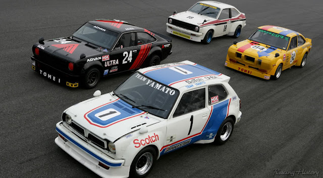 Nissan Sunny B110, Honda Civic SB1, Toyota Starlet P6, kultowe, znane, dla pasjonatów, stare japońskie samochody, nostalgic, wyścigowe, oldschool, klasyki motoryzacji, JDM, racing, rare, unikalne