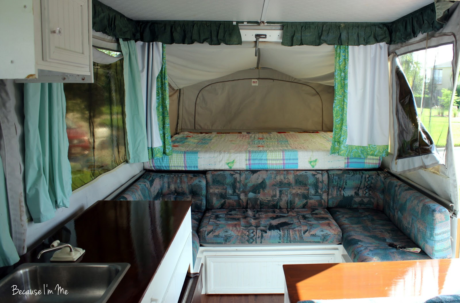 Yes, The Cushions, Seafoam Green Curtains, And Valance Have To Go!