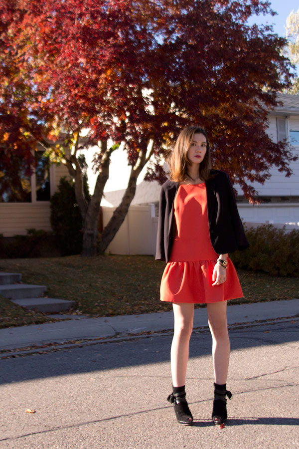 Finders Keepers, Aritzia, black blazer, lob cut, orange dress, drop hem, australian brand, calgary fashion, fall fashion