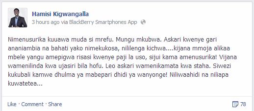 Mbunge wa jimbo la Nzega, Dkt Hamis Kigwangalla facebook status
